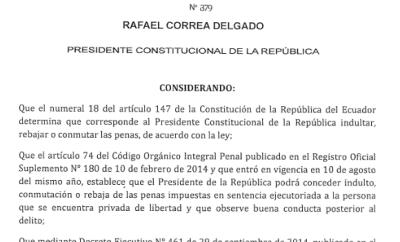 Presidente Correa concede indulto a Fidel Araujo