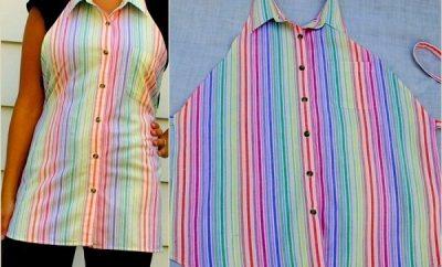 Cómo hacer un delantal con una camisa