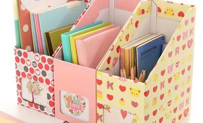 Organizador de libros con cajas de cartón