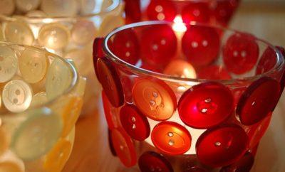 Cómo decorar portavelas de vidrio