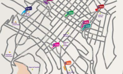 Mapa de parqueaderos en el Centro Histórico de Quito