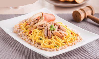 Receta Tallarines con cangrejo