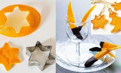 Adornos navideños con cáscara de naranja