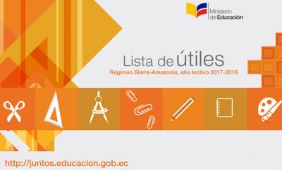 Lista de útiles año lectivo 2017-2018