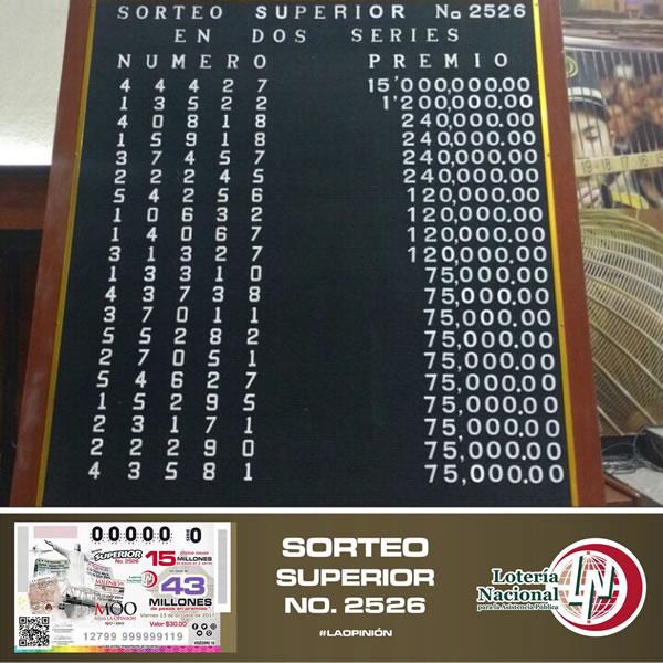 Premios sorteo superior 2526