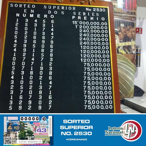 Sorteo superior 2530, ganadores
