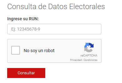 Consultar Datos Electorales Chile 2017, Consulta tu lugar de votación