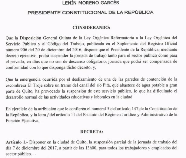 Decreto vacacion viernes 8 de diciembre 2017