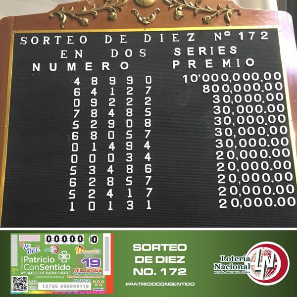 Resultado sorteo de diez 172
