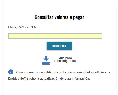 Consulta de valores a pagar por Matriculación Vehicular 2019