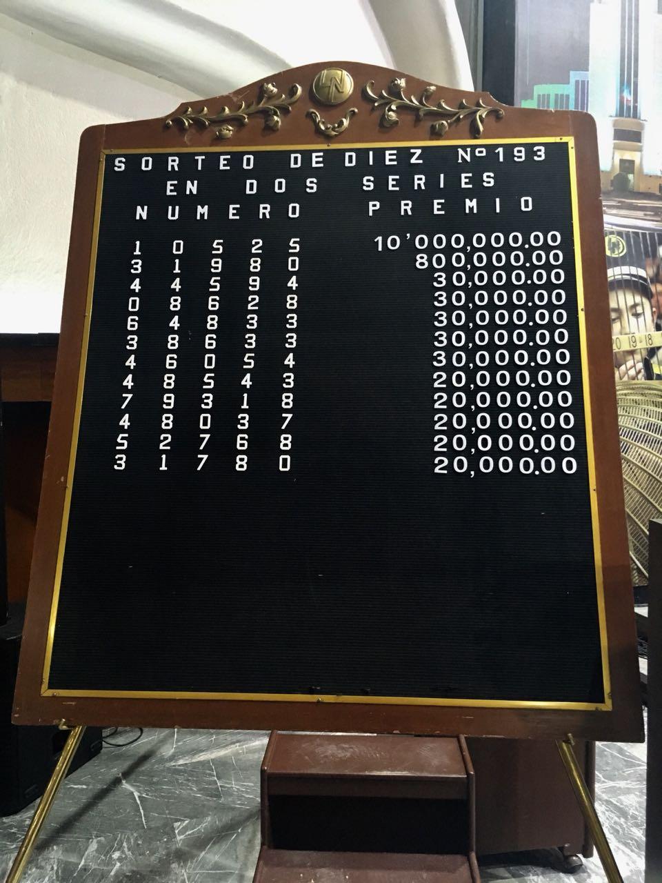 Resultados sorteo de diez 193