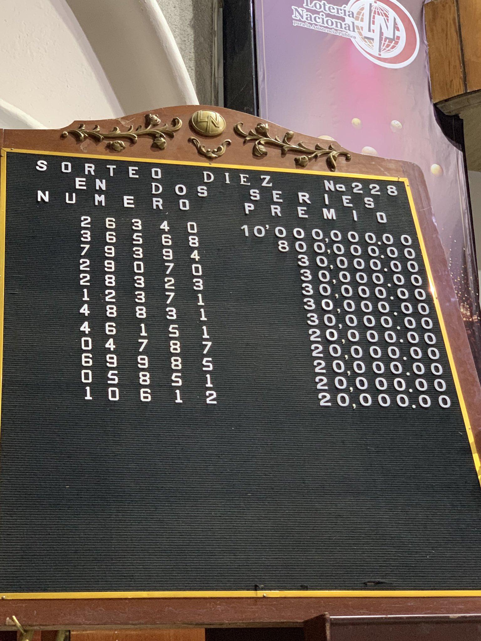 Resultados sorteo diez 228
