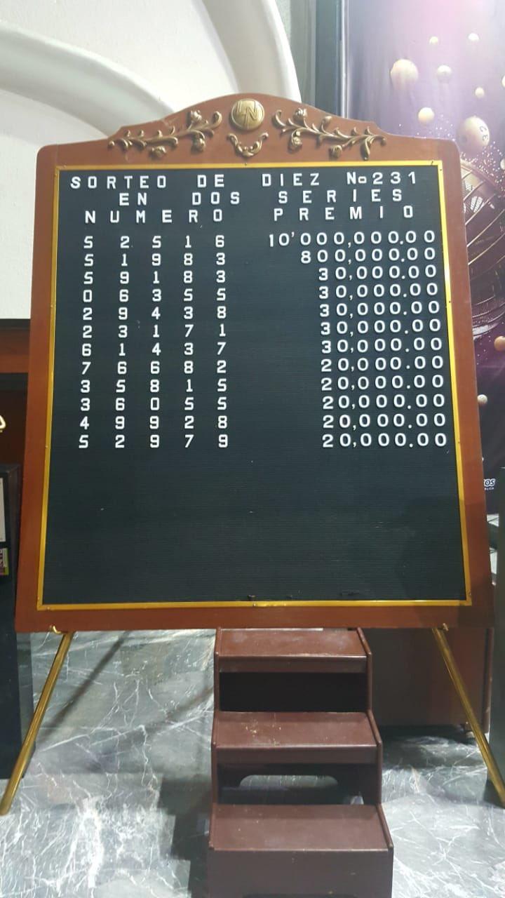 Resultados sorteo diez 231