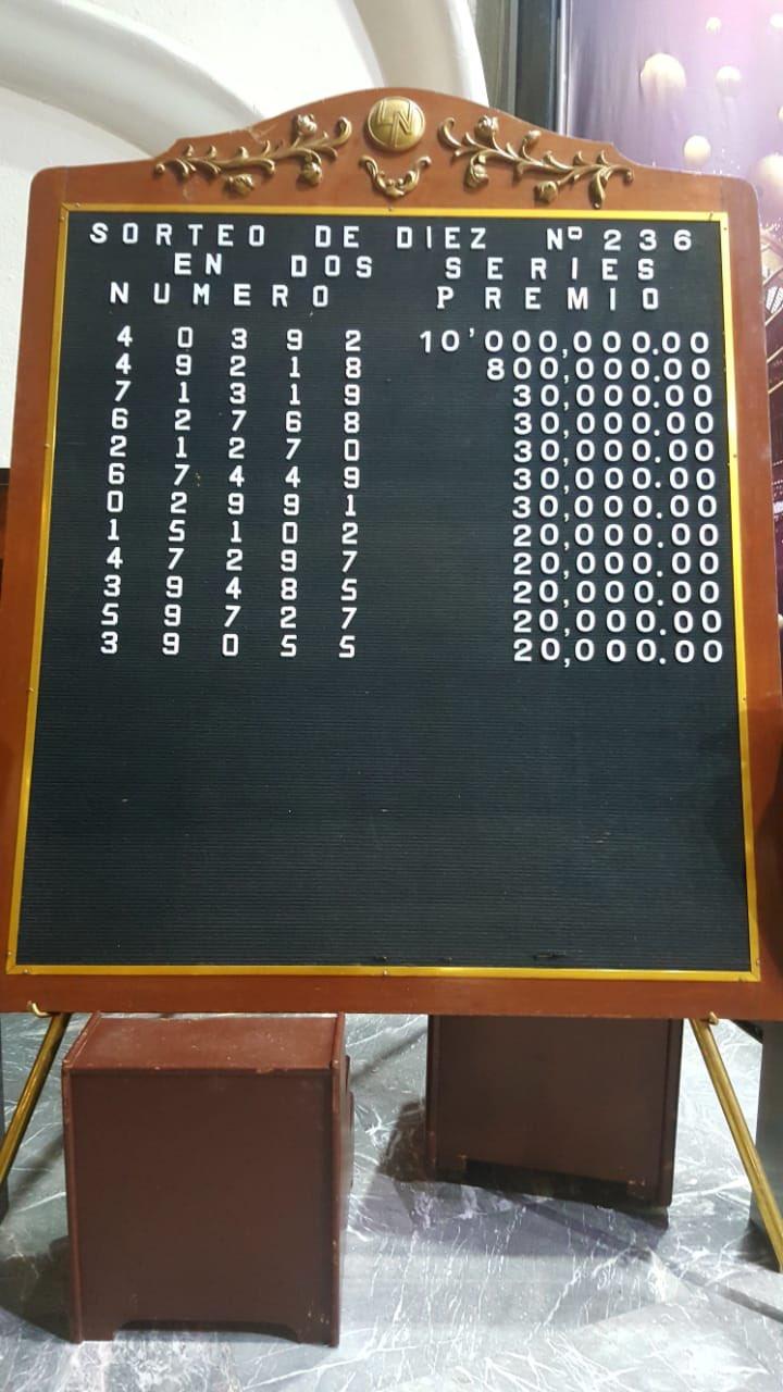 Resultados sorteo diez 236