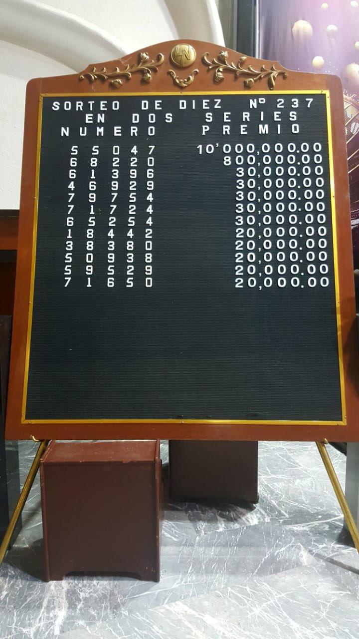 Resultados sorteo diez 237