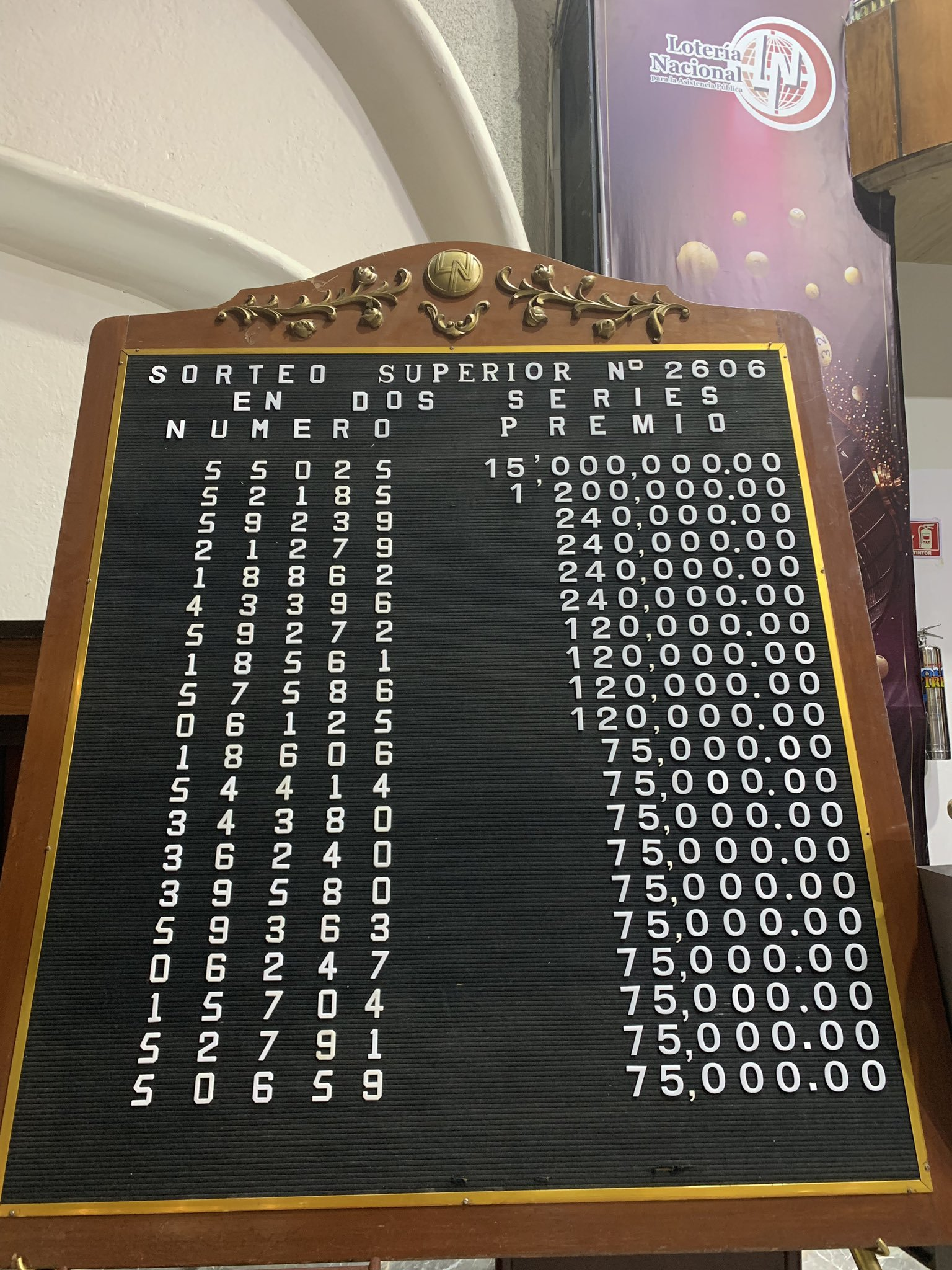 Resultados sorteo superior 2606