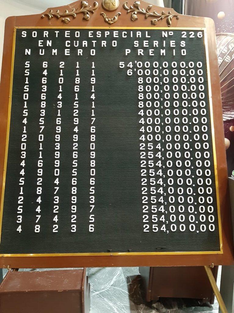 Resultados sorteo especial 226