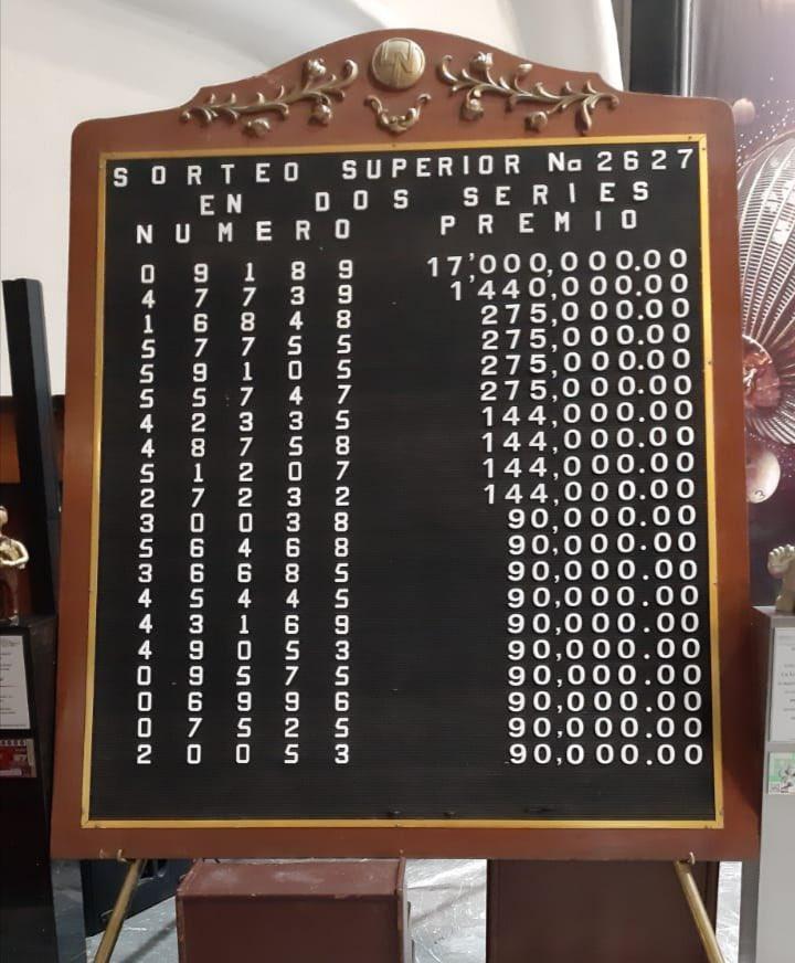 Resultados sorteo superior 2627