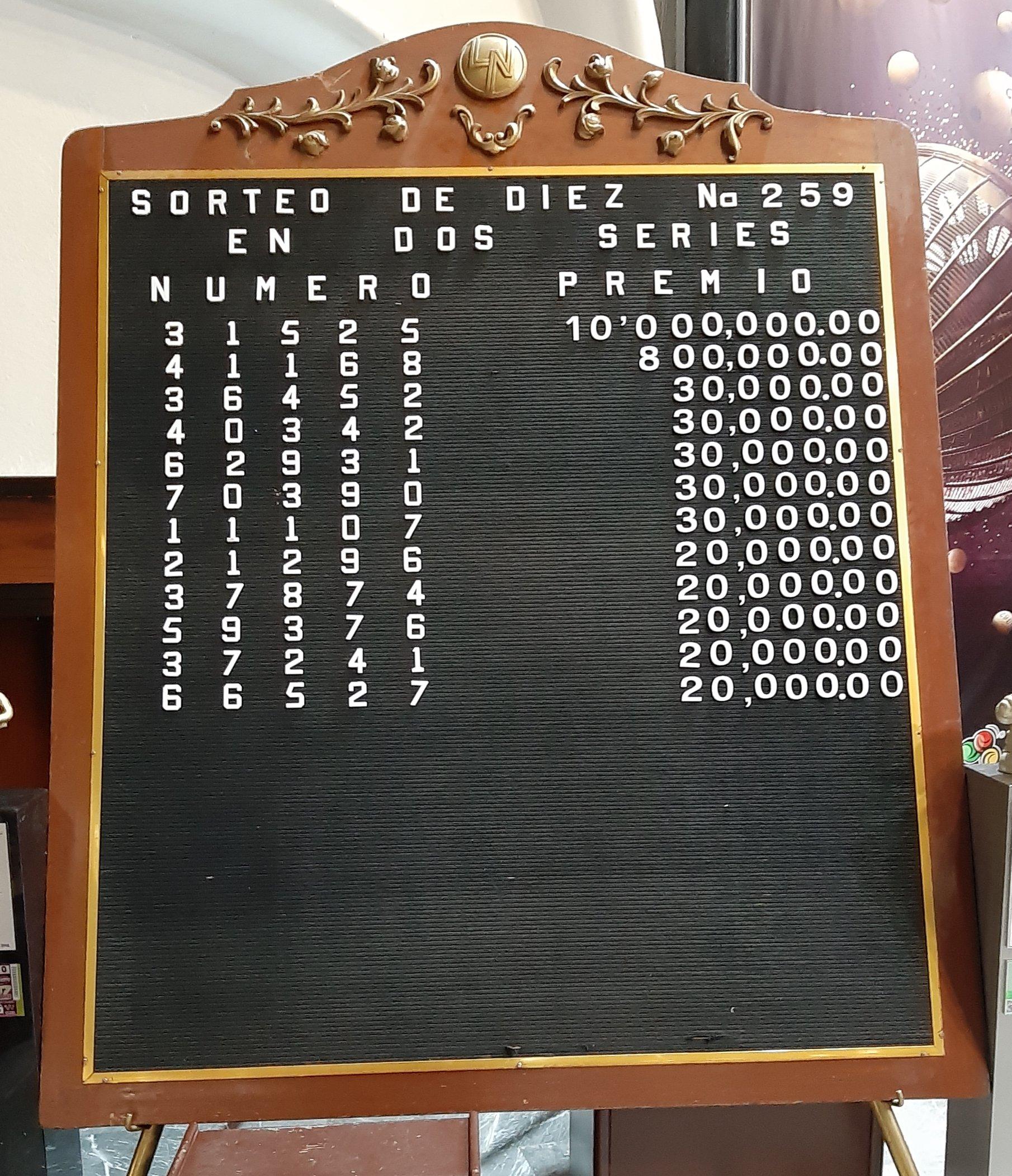 Resultados sorteo diez 259